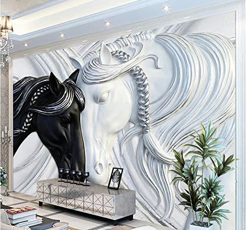 Individuelle Fototapete Für Wände 3D Art Fashion Murals Schwarz Weiß Double Horses Geprägte Tapete Wandverkleidungen