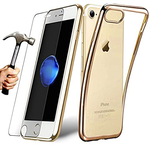 [Pack] Coque iPhone 6 / 6s (4.7'') Housse TPU Silicone transparent contour coloré DORE avec [ Film Protection d'écran en Verre Trempé 0.30mm OFFERT] - E.F.Connection®