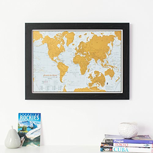 Scratch Map die Welt® Reise Edition Print Travel Scratch Print with black wooden frame