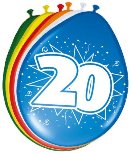 Folat 08222 - Globos de 20 cumpleaños (30 cm, 8 Unidades)