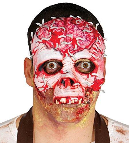 Maschera a metà viso bianca e rossa da scheletro zombie con vermi