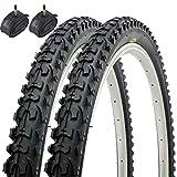 Fincci Paar MTB Mountain Hybrid Bike Fahrrad Reifen 26 x 1,95 53-559 und Sclaverandventil Schläuche