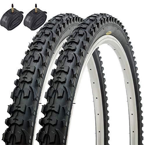 Paar Fincci MTB Mountain Hybrid Bike Fahrrad Reifen 26 x 1.95 54-559 und Sclaverandventil Schläuche 48mm