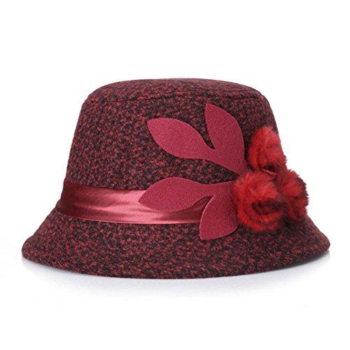 YANXH Neuer Winter- und Frühlings-Damen-Hut Behaarter Hut in der alten Mutter-Topf-Kappe , wine red , m (Mann Der Kostüm Topf)