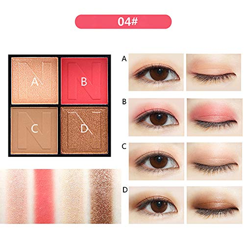 Luckhome Beste Lidschatten Palette Augenpalette Eyeshadow Make Up Kosmetik Warme Natürliche Farben in Matt Schimmer Mode 4 Farben Kosmetik Matte Lidschatten Creme Lidschatten Makeup Palette Set(D)