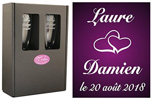 2 Flûtes à Champagne Gravées Modèle Cœurs avec Boîte Cadeau - Cadeau de Mariage pour Les Mariés - Cadeau Repas de Mariage, Invité au vin d'honneur, Anniversaire de Mariage