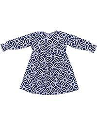 Hypernation Blue Color Geometric Print Cotton Frock For Girl