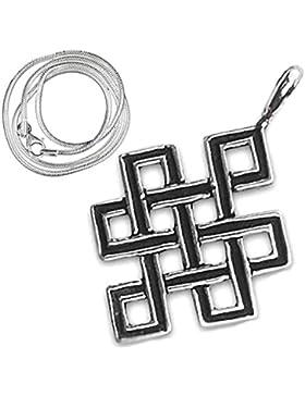 Keltischer unendlicher Knoten Anhänger 925er Silber Schmuck Amulett - Schutz - mit 1,2mm Schlangenkette 45 cm...