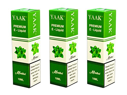 YAAK® Premium E-Liquid / Liquid 3 x 10 ml Menthol ohne Nikotin / E-Zigaretten, Elektrische-Zigarette, E-Shisha / Geschmacksaroma Menthol