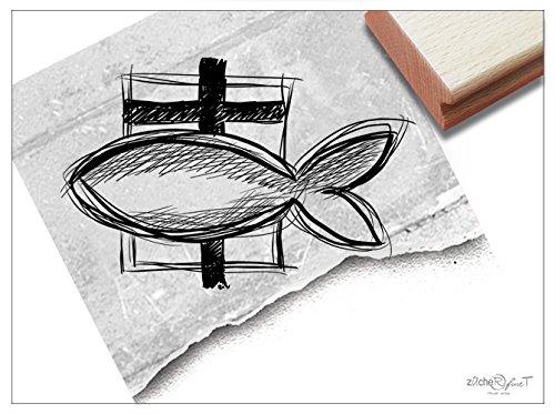 Stempel - Motivstempel zur Kommunion Oder Taufe - Fisch mit Kreuz - Bildstempel für Einladungen Karten Briefe Servietten Deko - von zAcheR-fineT