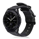 Fintie Armband kompatibel für Galaxy Watch 42mm / Galaxy Watch Active/Gear Sport/Gear S2 Classic - Premium Nylon Uhrenarmband verstellbares Sport Ersatzband mit Edelstahlschnallen, Schwarz