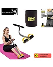 SIGNATRON Combo Pull Reducer, Waist Reducer Body Shaper Trimmer for Reducing Your Waistline and Burn Off Extra Calories, Quality Pull String with ONE Sweat Belt