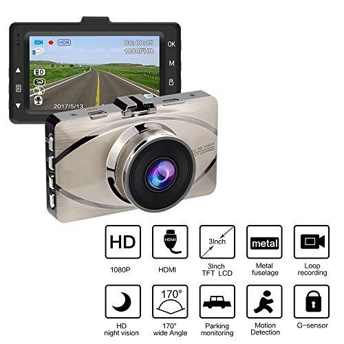 MIMI KING Dash Cam, FHD 1080P, 170 Grad Weitwinkel-Objektiv, 3-Zoll-Bildschirm, G-Sensor, Parküberwachung, Bewegungserkennung, Loop-Aufnahme, Metall-Rumpf mit 32G-Speicherkarte,Silver