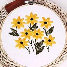 Cintas bordadas para principiantes, kit de costura de punto de cruz, flores coloridas,
