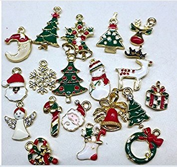 Kicode attachmenttou 19pcs Mehrfarbig Mixed Christmas Charms Set Schmuck Anhänger Weihnachten Urlaub Party Dekor Legierung