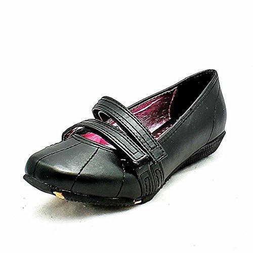 Filles velcro noir chaussures scolaires plat Black