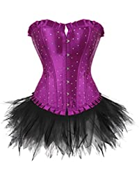 Lace up Satin Diamond Corset With mini tutu Set Burlesque Costumes Plus Size