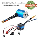Crazepony-UK 3650 5200KV Sensorless Brushless Combo Motor Outrunner Set and 60A ESC Electronic Speed Controller Splashproof for 1:10 RC Racing Car Off-Road Truck Vehicle
