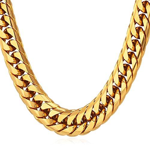 Sejin sg1204 - braccialetto ad effetto 3d, ricoperto in oro da 18k, dimensioni: 56 cm di lunghezza x 12 mm di larghezza, catenina color oro, regalo alla moda per festa del papà, natale e compleanni.