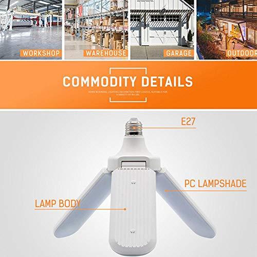 Womdee LED-Deckenleuchte, faltbar, für Garage, Lager, Werkstatt, Keller und viele andere E27/45w,Blanc D'induction