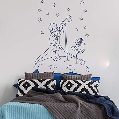 Modeganqingg Große Prince Space Astronomy teleskop wandtattoo kinderzimmer Schule Roman Prince Sternenhimmel wandaufkleber Schlafzimmer 56 cm x 43 cm