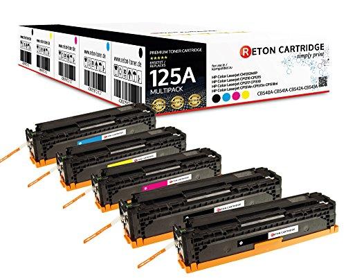 Original Reton Toner, kompatibel, 5er Farbset für HP CP1510 (CB540A, CB541A, CB542A, CB543A), HP 125A, COLOR LASERJET CM1312 MFP, CM1312NFI, CM1300, CP1210, CP1215N, CP1217, CP1510
