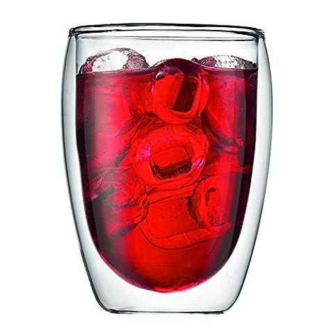 Tasse à Café Double Paroi 350ml PLUIESOLEIL en verre borosilicate – pour le Thé, Café, Latte, Cappuccino, Bière (1 PCS)