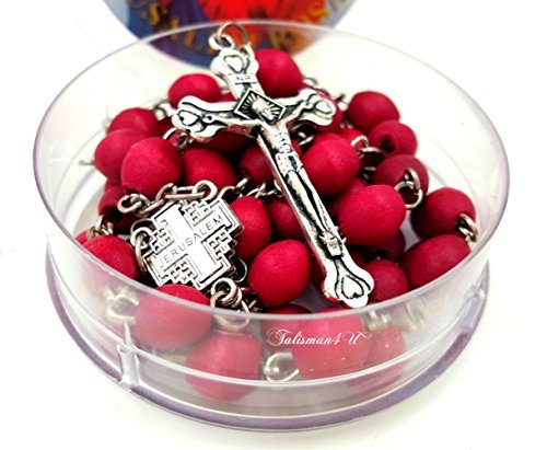 Blessed katholischen Rosenkranz Halskette rot Rose Duftkerze Holz Perlen Jerusalem Kreuz Kruzifix in Geschenkbox