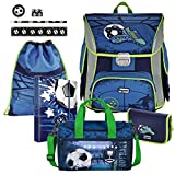 Soccer Blue Fußball Football BAGGYMAX SIMY Leicht Schulranzen Set 9tlg Hama mit SCHULSPORTTASCHE und SCHREIBSET