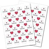 Partycards Aufkleber Sticker rund Weiss Danke mit 30x Herz rot Stück im Set 48 Dankeschön Hochzeit Geburtstag Weihnachten Mitgebsel