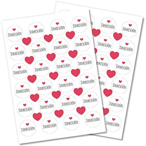Partycards 48 Aufkleber/Sticker Danke rund für Hochzeit, Geburtstag, Weihnachten oder weitere Anlässe (Dankeschön mit Herz rot)