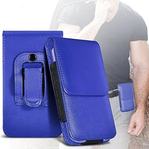 Fone-Case (Blue) Archos 50 Saphir Hülle der nagelneuen Luxus Faux PU Vertikal Seiten Leder Pull Tab-Beutel-Haut-Kasten-Abdeckung