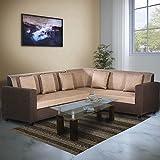 Bharat Lifestyle Dalvin Fabric L Shape Sofa (Golden Brown)