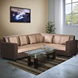 #10: Bharat Lifestyle Dalvin Fabric Golden Brown L Shape Sofa (3+D)