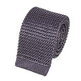 Cravate Tricot en Maille de Soie - 5,5 cm de Largeur - Choisissez Votre Couleur (Gris Anthracite)
