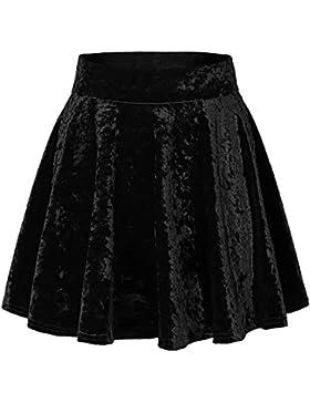 Urban GoCo Mini Falda Elástica Patinadora de Terciopelo de Retro
