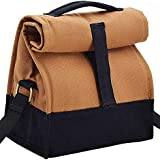 Office Lunch Bags for Men and Women - Insulated - Stylish Cotton Canvas with Sling - Brown