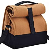 #2: Office Lunch Bags for Men and Women - Insulated - Stylish Cotton Canvas with Sling - Brown