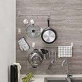 Handtuchhalter ohne Bohren 55cm mit 5 Haken, YKS Küchenhelfer Hängeleiste Handtuchhaken Edelstahl , 3M-Kleber Handtuchstange Stange Selbstklebender