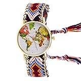 Bracelets Réf1b89 BR.1071 - Montre Brésilien Marron - Motif Carte du Monde Hippie...