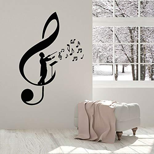 Tianpengyuanshuai Vinyl Wandtattoo Violinschlüssel Note Dirigent Meister Band Aufkleber Musikstudio Deko Wandbild 30x43cm