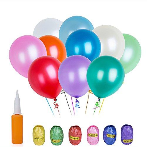 ZeWoo 100 Pcs Globos de Fiesta de Colores Diversos para Bodas, Fiestas de Cumpleaños + 1 Pcs Bomba + 6 Pcs Cinta coloreada (Round, multicolor)