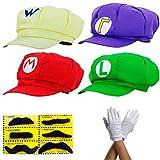 Super Mario Gorra Luigi Wario Waluigi - Conjunto de Disfraces para Adultos y niños + 4X Guantes y 6X Barba pegajosa Carnival & Cosplay - Classic Cappy Cap
