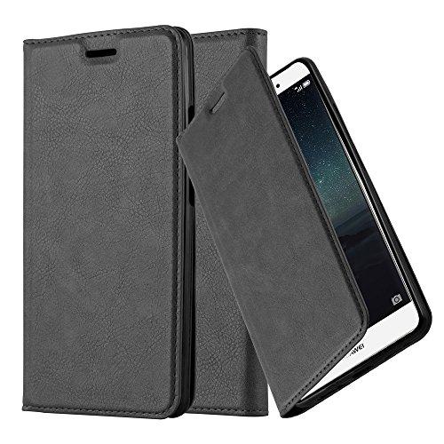 Cadorabo Hülle für Huawei Mate S - Hülle in Nacht SCHWARZ – Handyhülle mit Magnetverschluss, Standfunktion und Kartenfach - Case Cover Schutzhülle Etui Tasche Book Klapp Style