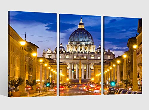 Leinwandbild 3 tlg Petersdom Vatikan Rom Italien Kat15 Papst Bild Bilder Leinwand Leinwandbilder Holz Wandbild mehrteilig Kunstdruck fertig gerahmt 9AB496, 3 tlg BxH:120x80cm (3Stk 40x 80cm)