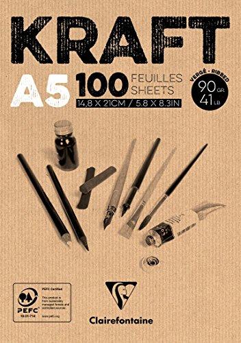 Clairefontaine 96544C Kraftpapier Block (geleimt, ideal für Trockentechniken, 100 Blatt, DIN A5,...