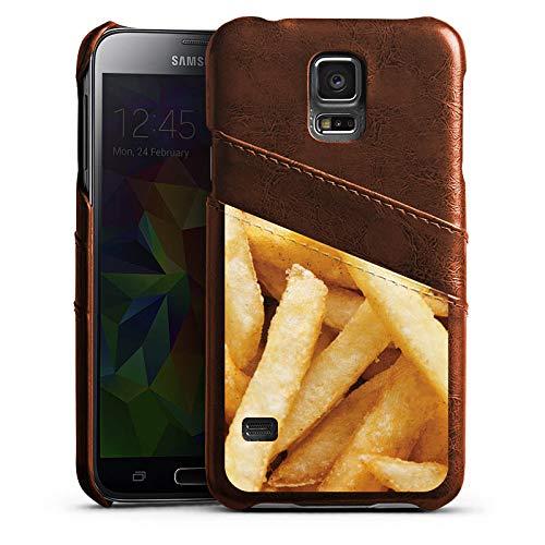 DeinDesign Samsung Galaxy S5 Neo Lederhülle Maroon Leder Case Leder Handyhülle Pommes Fritten Chips