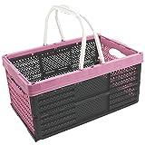 com-four® Klappbox mit Henkeln in pink, klappbarer Einkaufskorb, 16 Liter, 40 x 26 x 20 cm (01 Stück - Pastell-pink)
