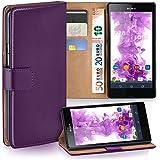 OneFlow Tasche für Sony Xperia Z Hülle Cover mit Kartenfächern | Flip Case Etui Handyhülle zum Aufklappen | Handytasche Schutzhülle Zubehör Handy Schutz Bumper in Lila