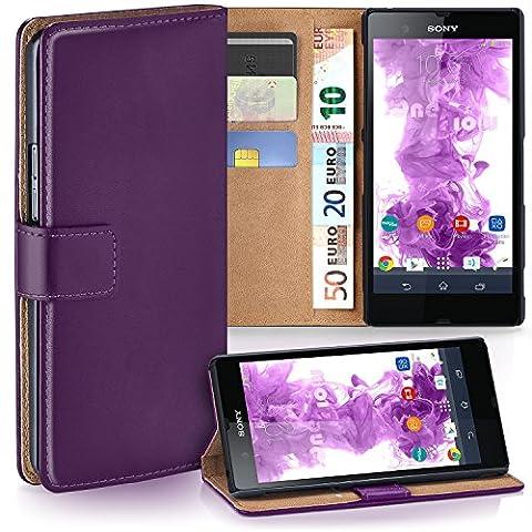 Sony Xperia Z Hülle Violett mit Kartenfach [OneFlow Wallet Cover] Handytasche Flip-Case Handyhülle Etui Kunst-Leder Tasche für Sony Xperia Z Case Book Schutzhülle